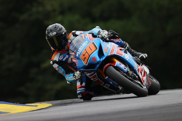 Bobby Fong (50) finished just off the podium in Sunday's Superbike race in Atlanta.  Photo by Brian J. Nelson, courtesy Suzuki Motor of America, Inc.