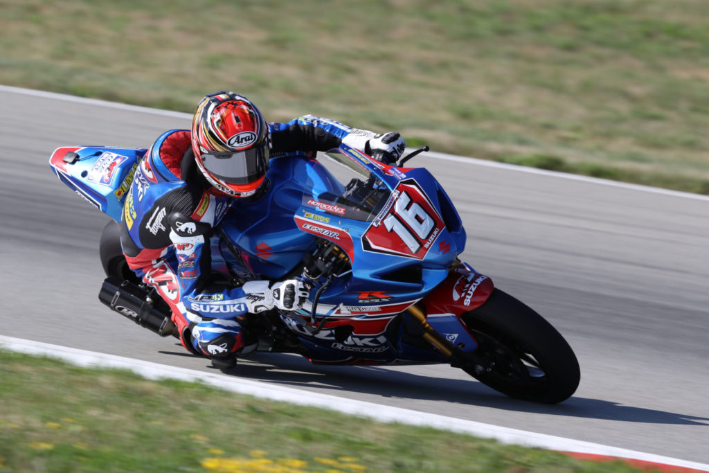 Alex Dumas (16) nearly won the first Stock 1000 race and made his Superbike debut. Photo by Brian J. Nelson, courtesy Suzuki Motor of America, Inc.