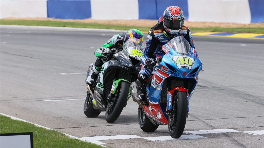 Sean Dylan Kelly (40) crosses the finish line just ahead of Richie Escalante (54) at Road Atlanta. Photo by Brian J. Nelson, courtesy MotoAmerica.