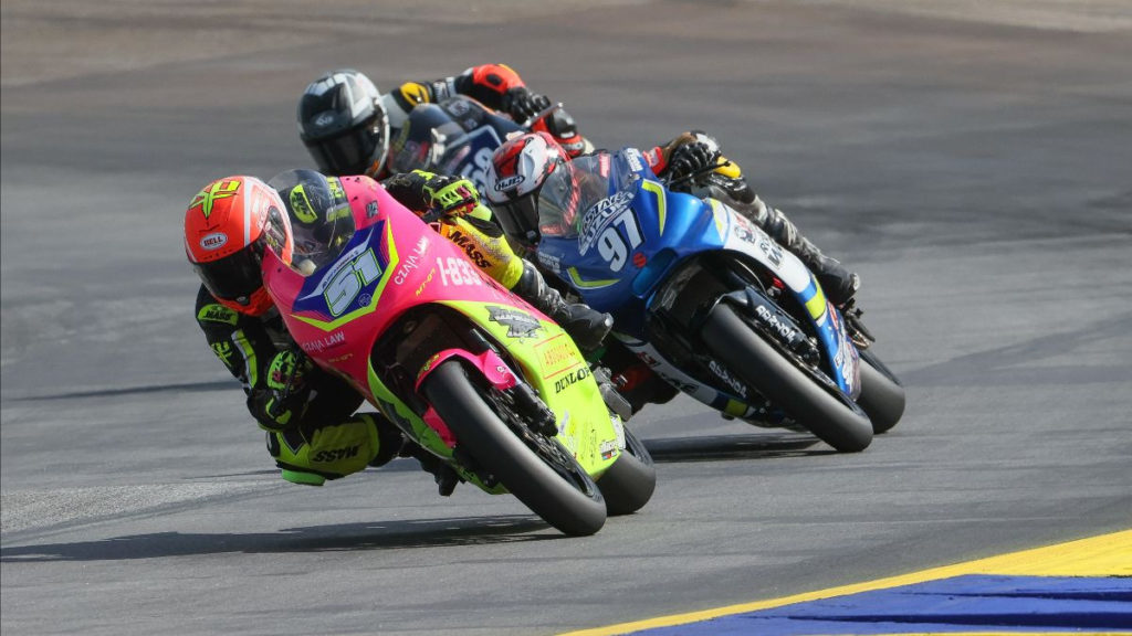 Kaleb De Keyrel (51) leads Rocco Landers (97) and Hayden Schultz (259) during the Twins Cup race at Road Atlanta. Photo by Brian J. Nelson, courtesy MotoAmerica.