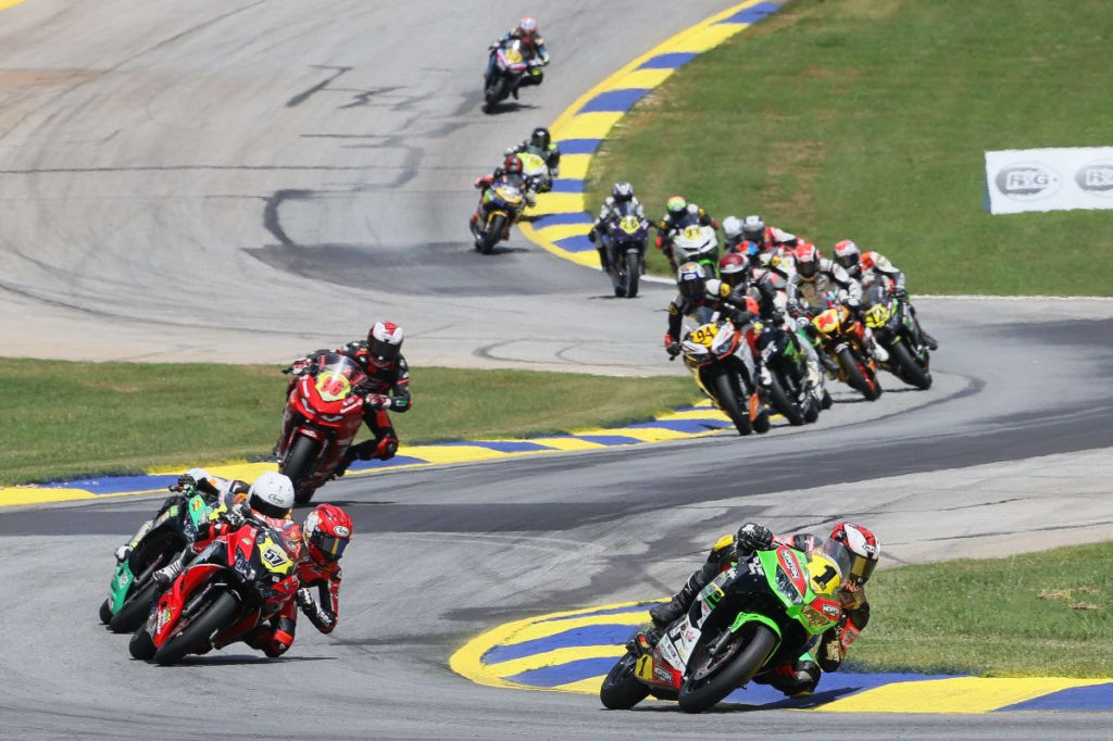 Rocco Landers (1) leads early in Junior Cup Race Two. Photo by Brian J. Nelson, courtesy MotoAmerica.