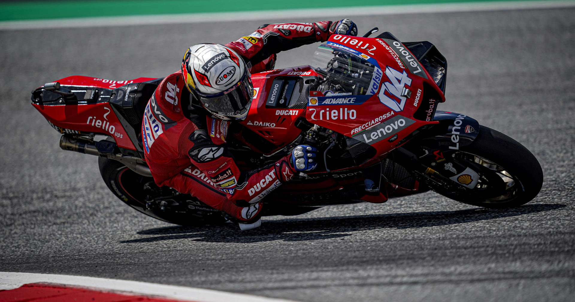 Andrea Dovizioso (04) on his way to victory, and Ducati's 50th MotoGP race win, at the Red Bull Ring. Photo courtesy Ducati.