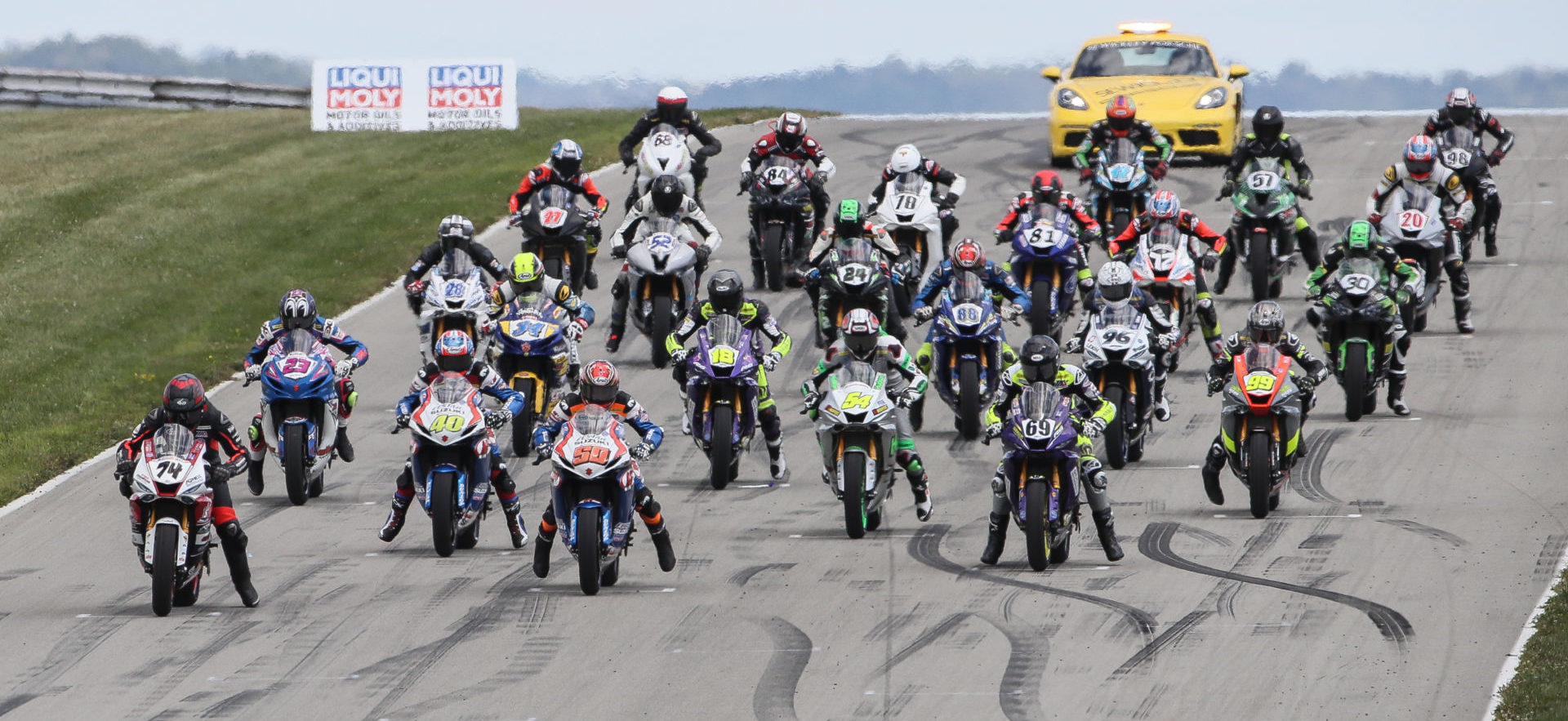 The MotoAmerica Supersport grid at PittRace in 2019. Photo by Brian J. Nelson.