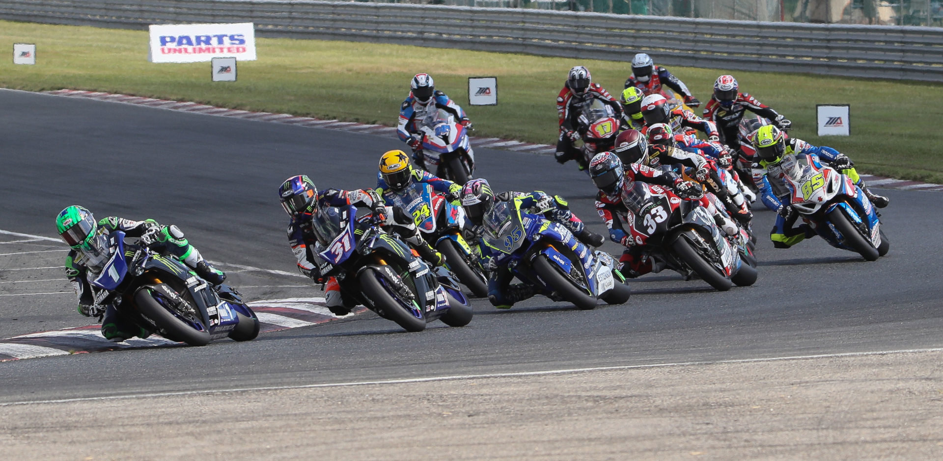 The start of MotoAmerica Superbike Race One at New Jersey Motorsports Park in 2019. Photo by Brian J. Nelson.