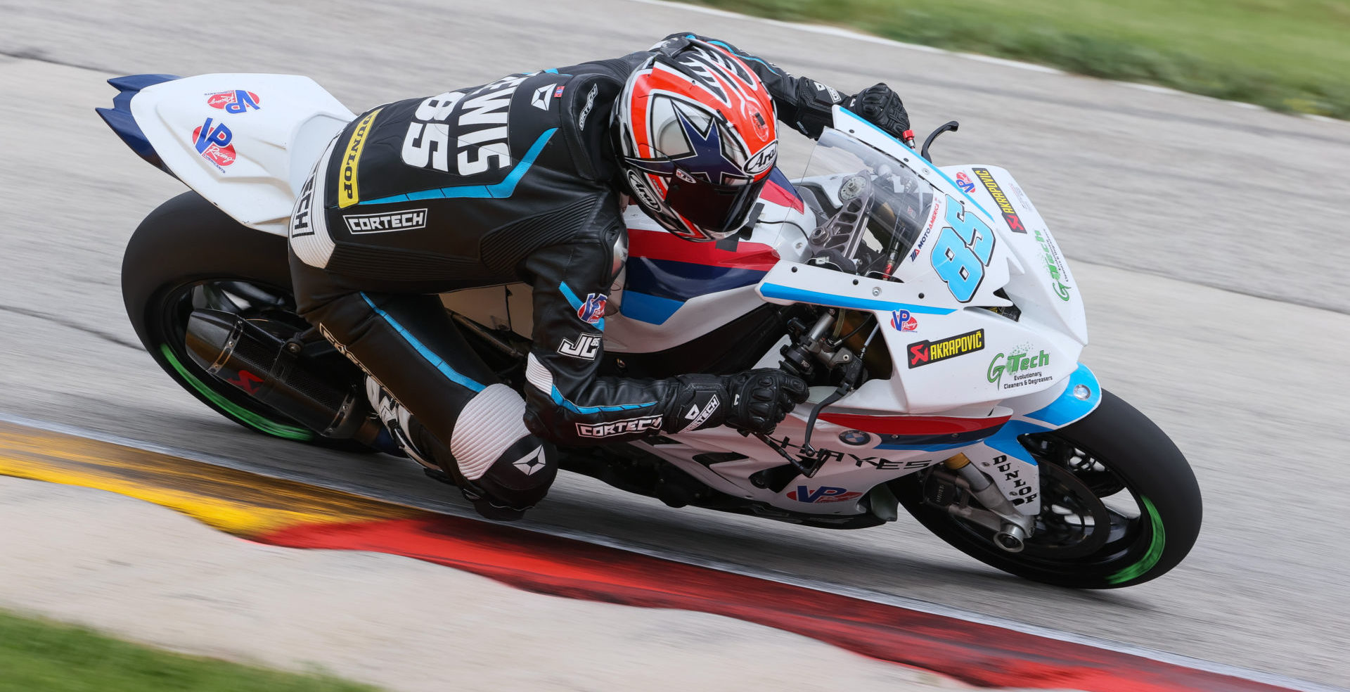 Jake Lewis (85) riding a Scheibe Racing BMW Superbike during the MotoAmerica Road America I event. Photo by Brian J. Nelson.