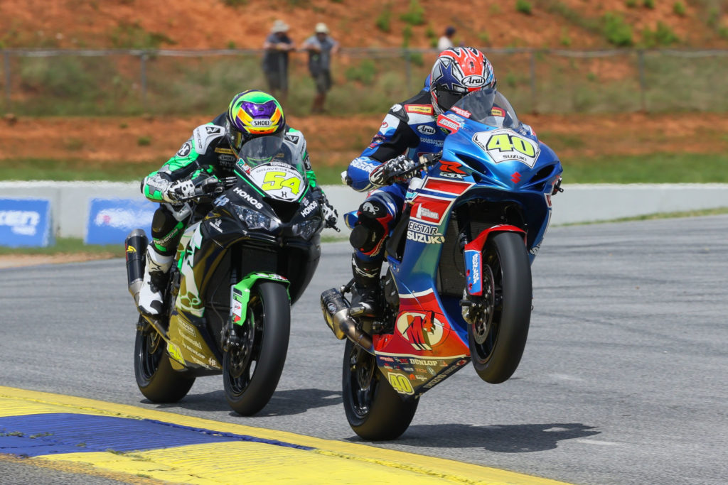 Richie Escalante (54) suffered his first loss of the season in Supersport action at Road Atlanta when Sean Dylan Kelly (40) earned his first win. Those two will go at it again at PittRace this weekend. Photo by Brian J. Nelson, courtesy MotoAmerica.