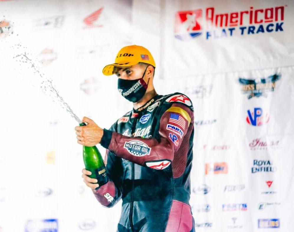 Briar Bauman won the AFT SuperTwins race at Indy Mile I. Photo courtesy AFT.