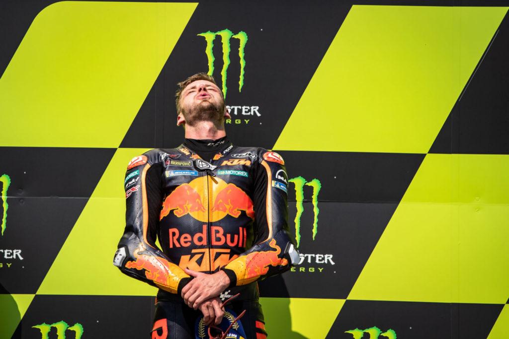 Brad Binder on the podium at Brno. Photo courtesy Red Bull KTM.