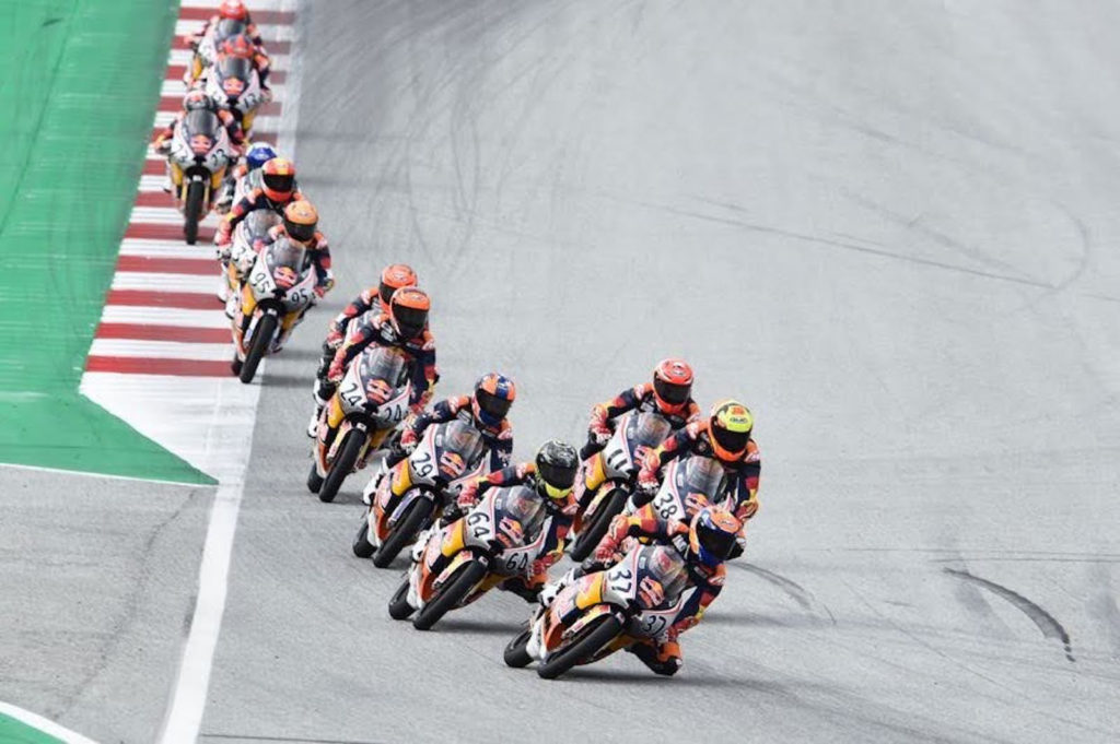 Pedro Acosta (37) won his fourth straight Red Bull MotoGP Rookies Cup, at the Red Bull Ring. Photo courtesy Red Bull.
