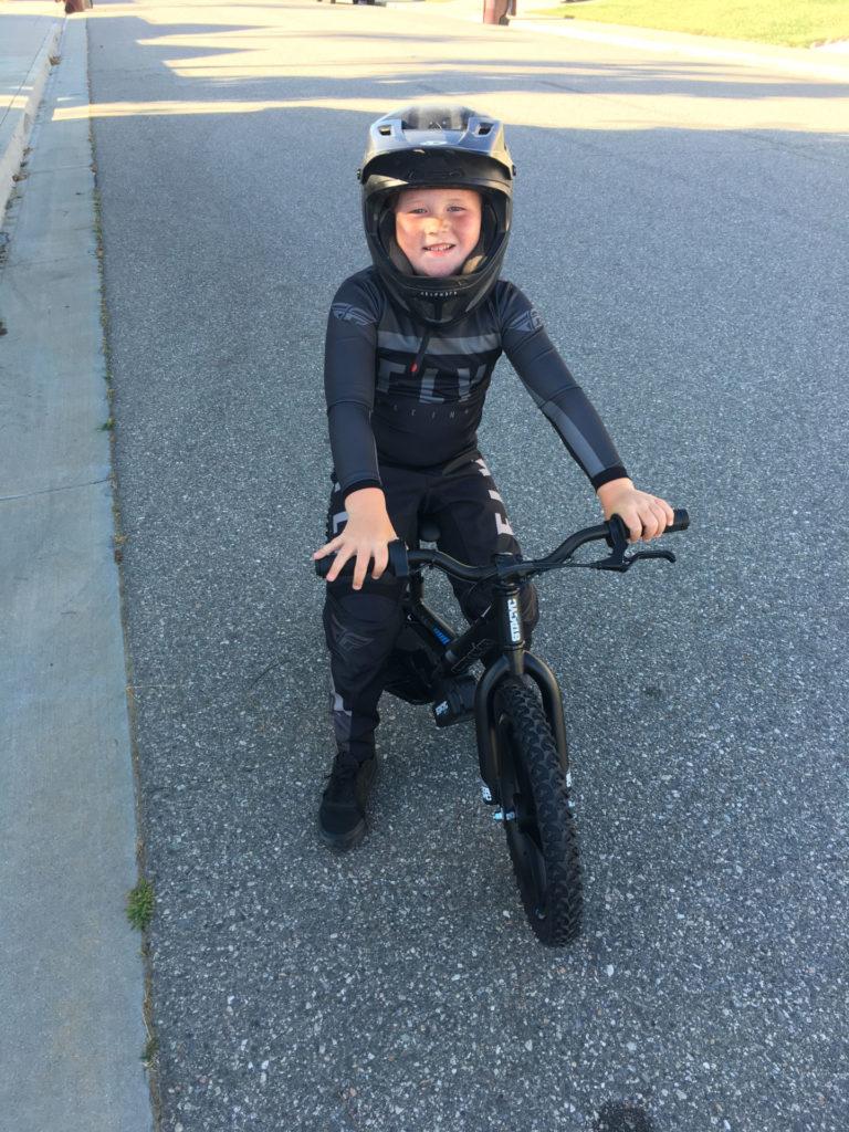 Test rider Nicholas Duffy on a Stacyc 16e electric balance bike. Photo by John Ulrich.