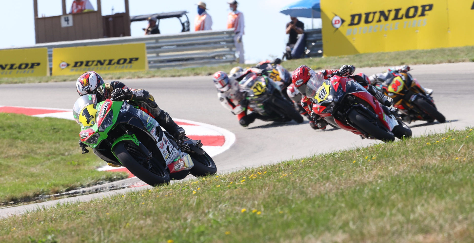 Rocco Landers (1) leads restarted Junior Cup Race One. Photo by Brian J. Nelson, courtesy MotoAmerica.