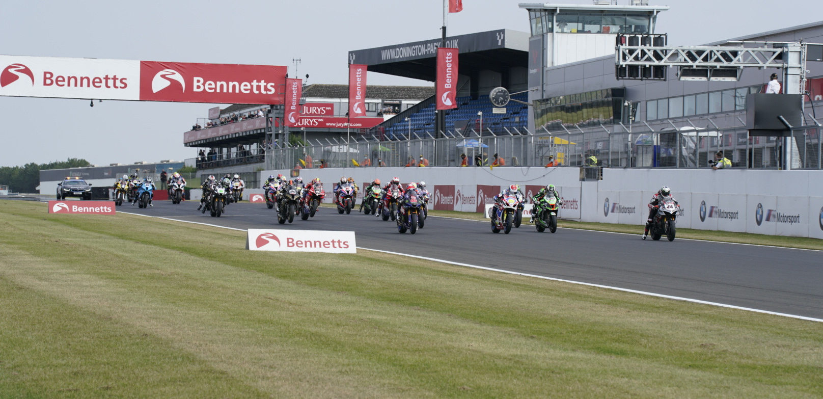 The start of a British Superbike race at Donington Park. Photo courtesy MSVR.
