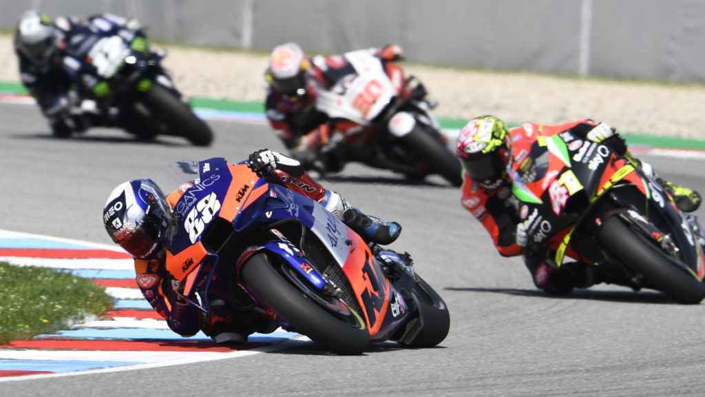 Miguel Oliveira (88) leading a group of riders during the MotoGP race at Brno. Photo courtesy Red Bull KTM Tech3.