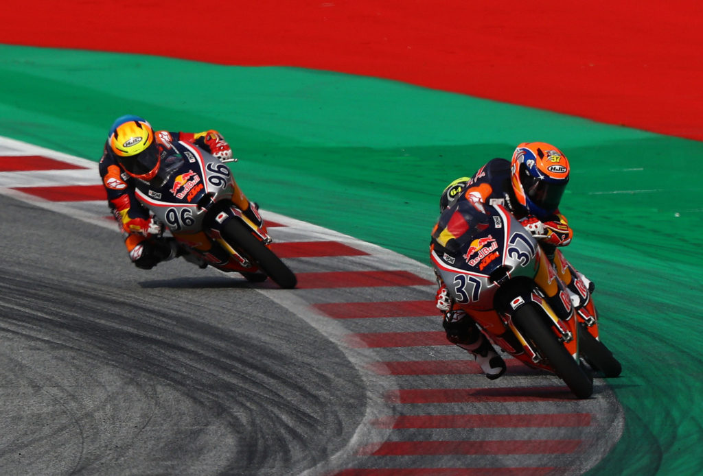 Pedro Acosta (37) hung on to beat David Munoz (64) and Daniel Holgado (96) in Red Bull MotoGP Rookies Cup Race One. Photo courtesy Red Bull.