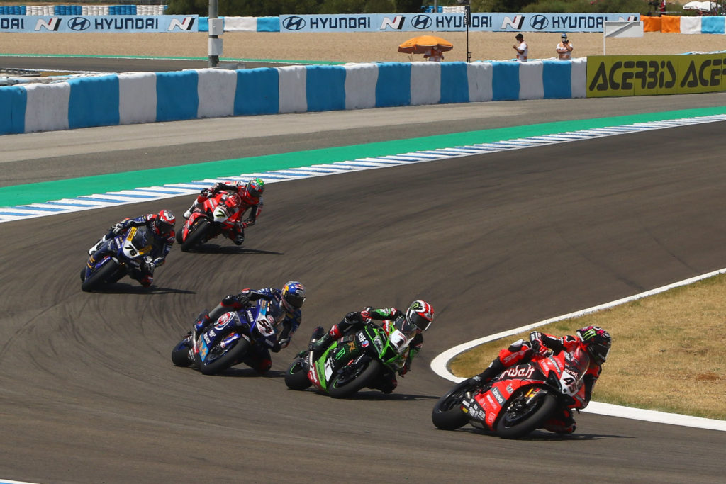 Scott Redding (45) leads Jonathan Rea (1), Toprak Razgatlioglu (54) Loris Baz (76), and Chaz Davies (7) during Race One at Jerez. Photo courtesy Dorna.