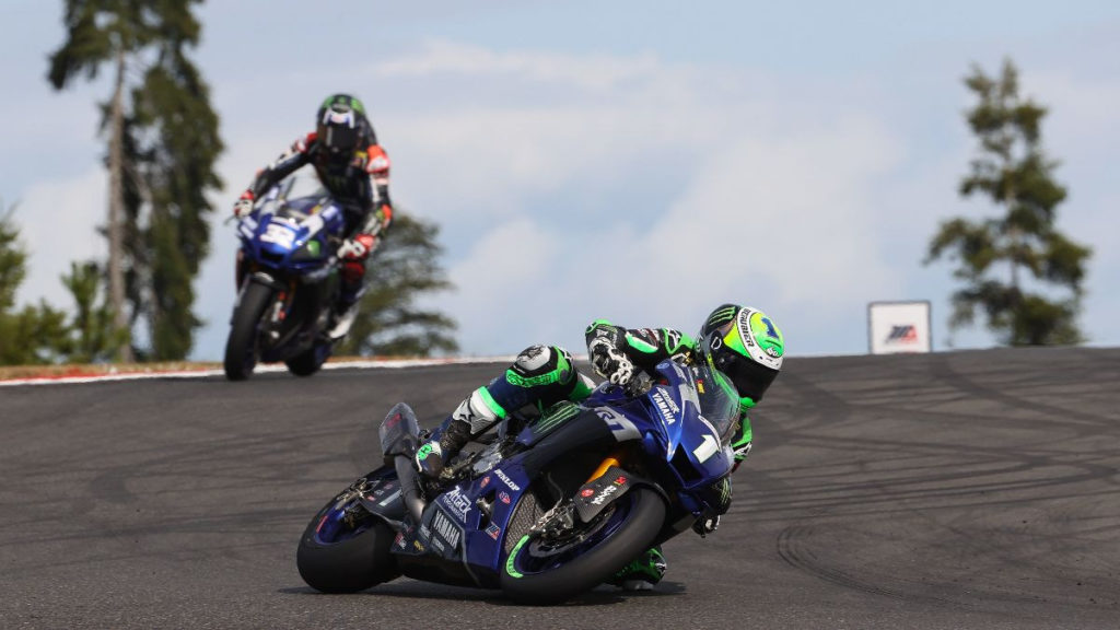Cameron Beaubier (1) leading Jake Gagne (32) early in Superbike Race One. Photo by Brian J. Nelson, courtesy MotoAmerica.