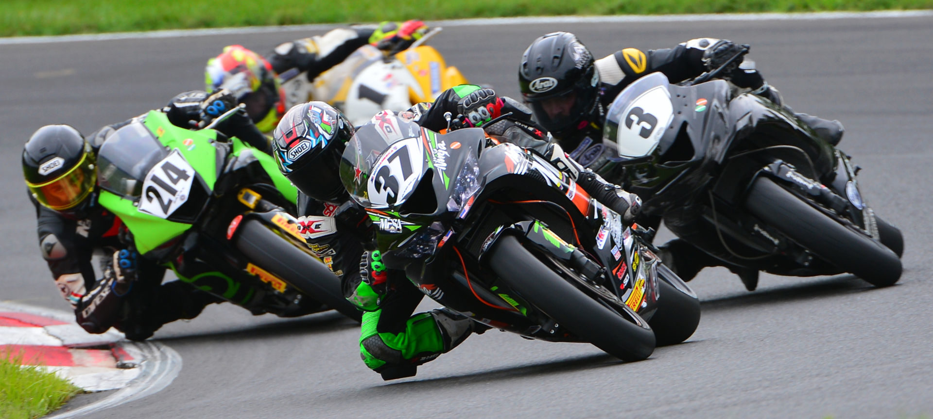 Stefano Mesa (37) leads Justin Jones (3), Xavier Zayat (214), and Greg Melka (1) during the CCS Middleweight Supersport race at Summit Point Motorsports Park. Photo by Lisa Theobald, courtesy ASRA/CCS.