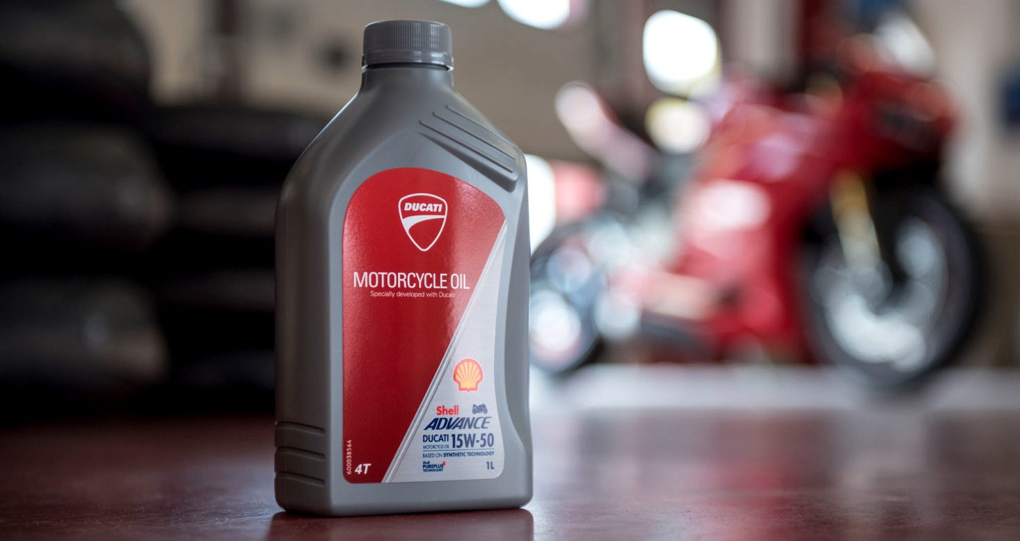 A container of Shell Advance Ducati motorcycle engine oil. Photo courtesy Ducati.