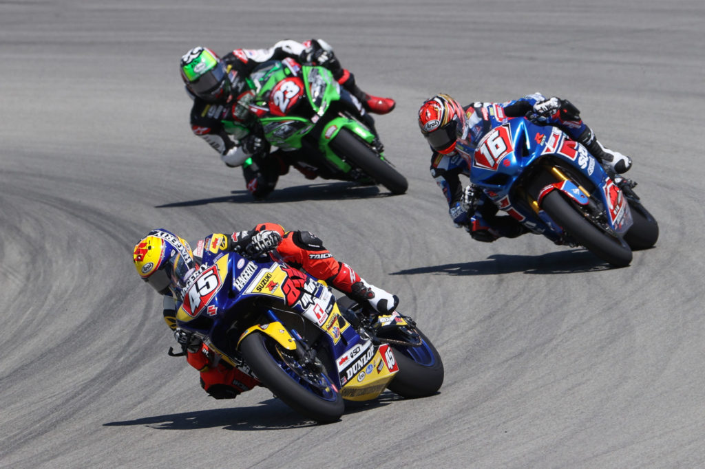 Cameron Petersen (45) leading Alex Dumas (16) and Corey Alexander (23) in Stock 1000 Race One. Photo by Brian J. Nelson, courtesy MotoAmerica.