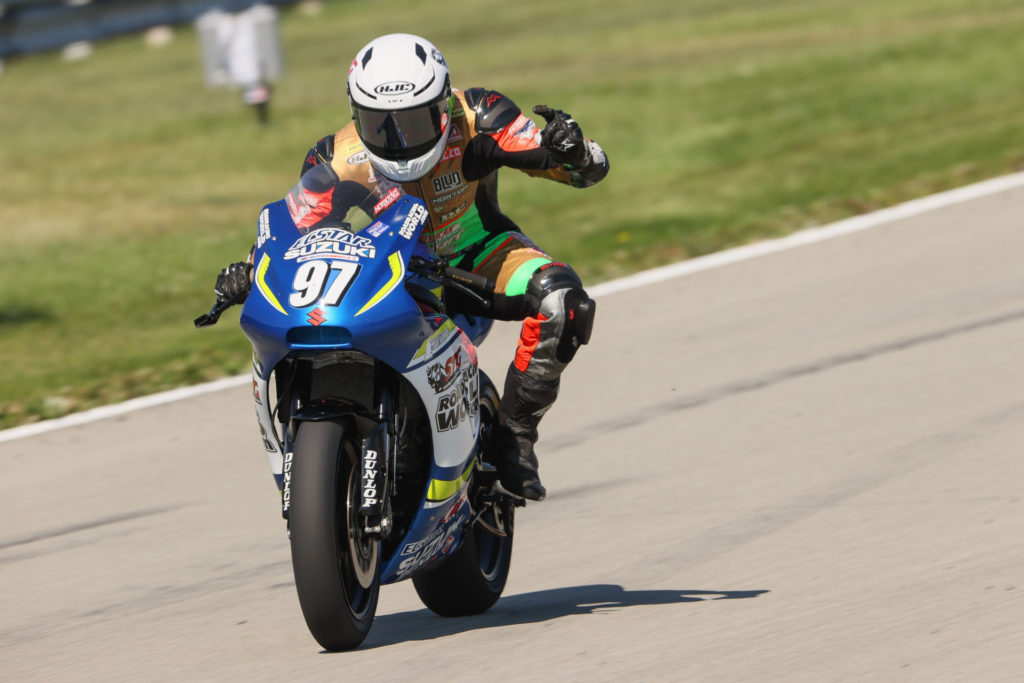 Rocco Landers (97) won the Twins Cup race at PittRace. Photo by Brian J. Nelson, courtesy MotoAmerica.