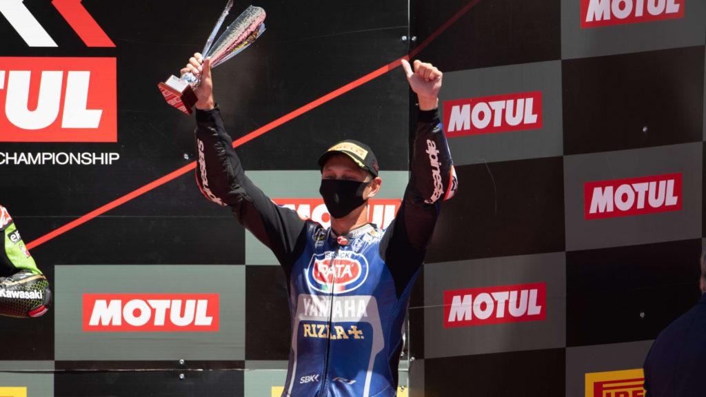 Michael van der Mark on the podium in Portugal. Photo courtesy Yamaha.