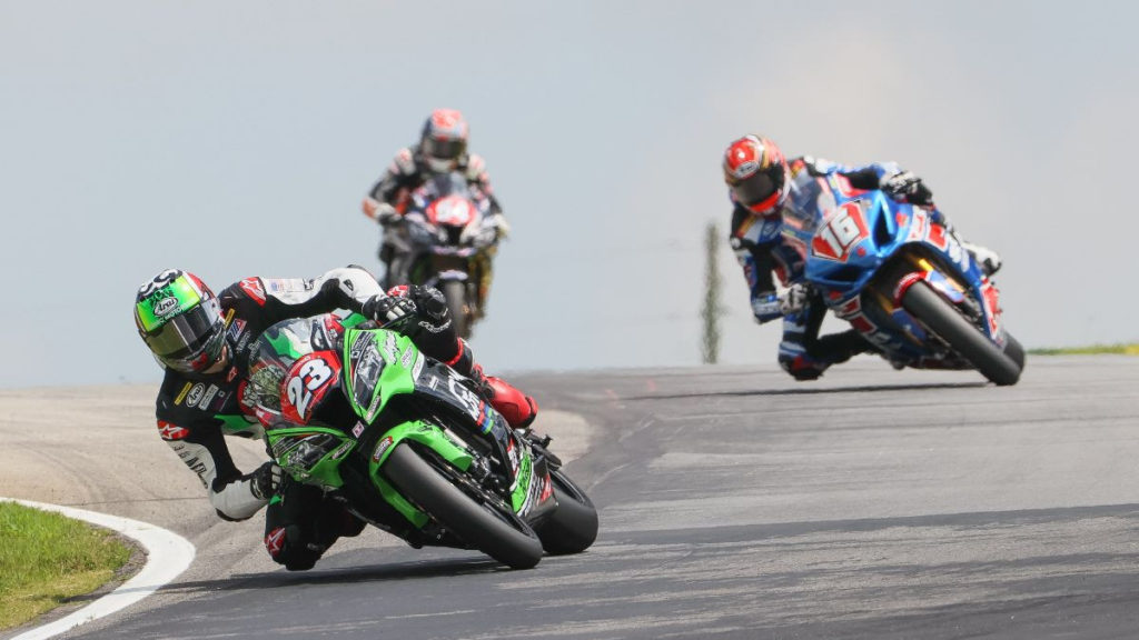 Corey Alexander (23) leads Alex Dumas (16) and Geoff May (54) during Stock 1000 Race Two. Photo by Brian J. Nelson, courtesy MotoAmerica.