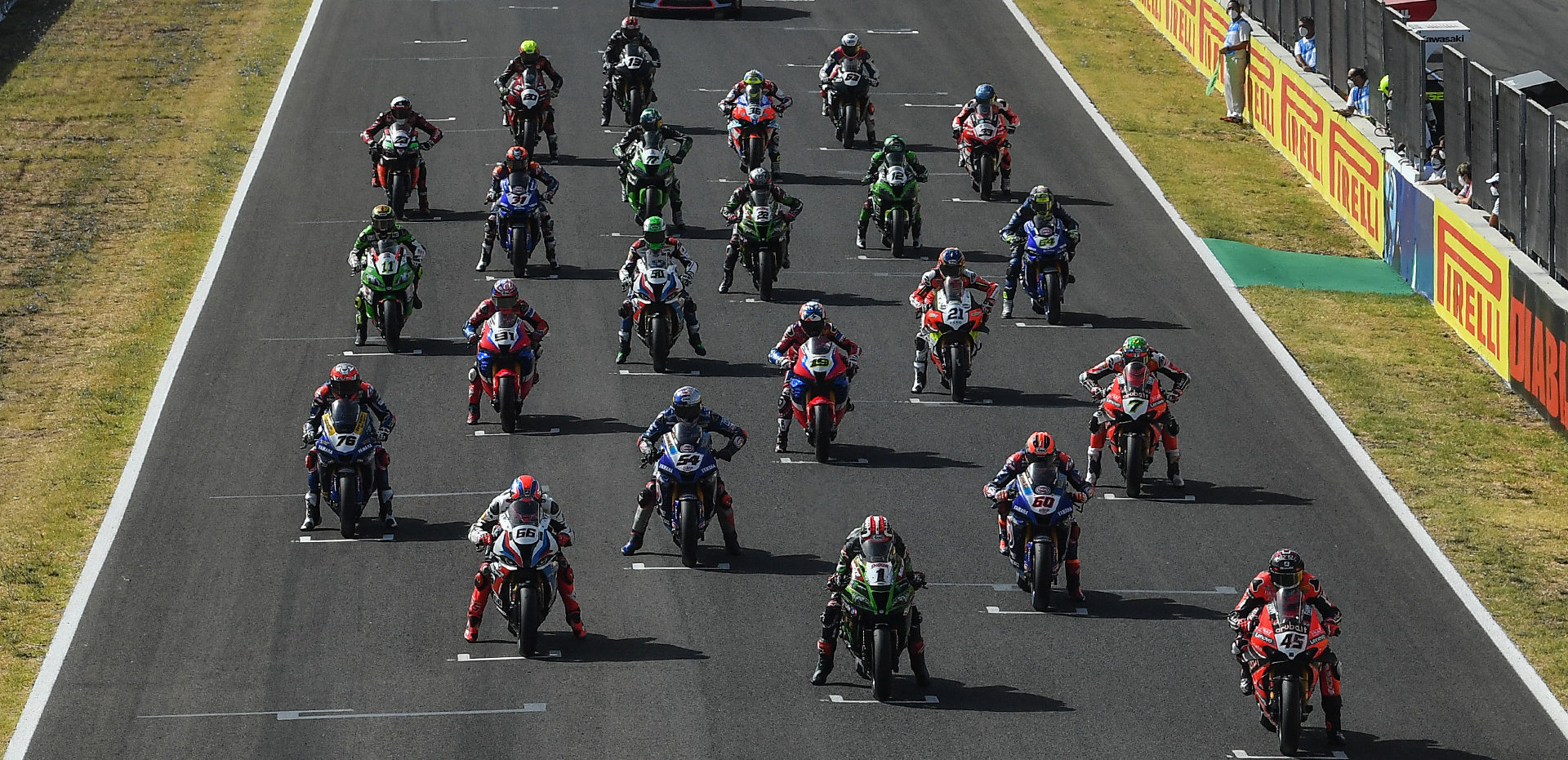 The World Superbike field lined up for a race start at Jerez. Photo courtesy Dorna WorldSBK Press Office.