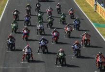 The World Superbike field lined up for a race start at Jerez. Photo courtesy Dorna WorldSBK Press Office.