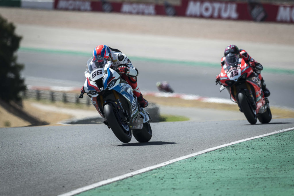 Tom Sykes (66) and Scott Redding (45) in Portugal. Photo courtesy BMW.
