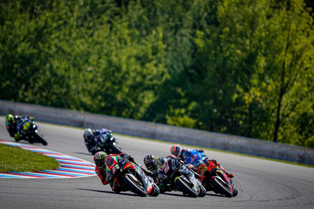 Alexi Espargaro (41) leading Johann Zarco (5), Pol Espargaro (44), Alex Rins (42), Maverick Vinales (12), and Valentino Rossi (46) during the MotoGP race at Brno. Photo courtesy Aprilia.