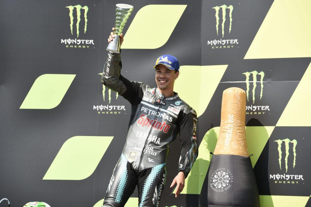 Franco Morbidelli on the podium at Brno. Photo courtesy PETRONAS Yamaha SRT.