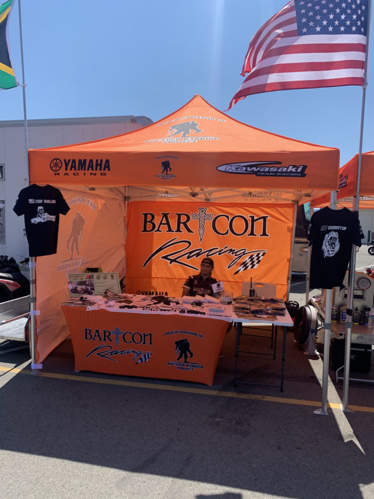 BARTCON Racing's display supporting the Wounded Warrior Project at PittRace. Photo courtesy Colin Barton.