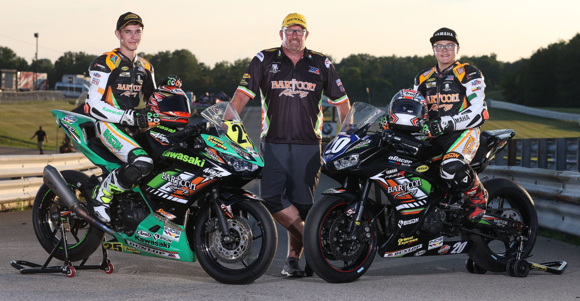 BARTCON Racing owner Colin Barton (center) with riders Dominic Doyle (left) and Cooper McDonald (right). Photo by Brian J. Nelson.