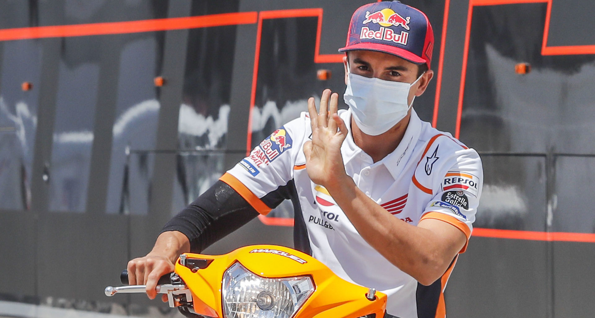 Marc Marquez at Jerez, after having the first surgery on his broken right arm. Photo courtesy Repsol Honda.