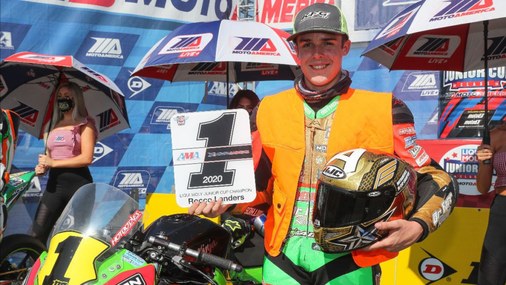2020 MotoAmerica Junior Cup Champion Rocco Landers. Photo by Brian J. Nelson, courtesy MotoAmerica.