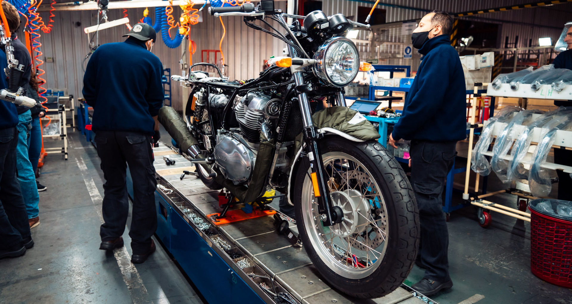 A Royal Enfield motorcycle on the assembly line in Argentina. Photo courtesy Royal Enfield.