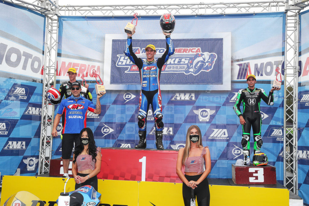 The Sunday MotoAmerica Supersport podium, winner Sean Dylan Kelly flanked by second-place Brandon Paasch (left) and third-place Richie Escalante (right). Photo by Brian J. Nelson.
