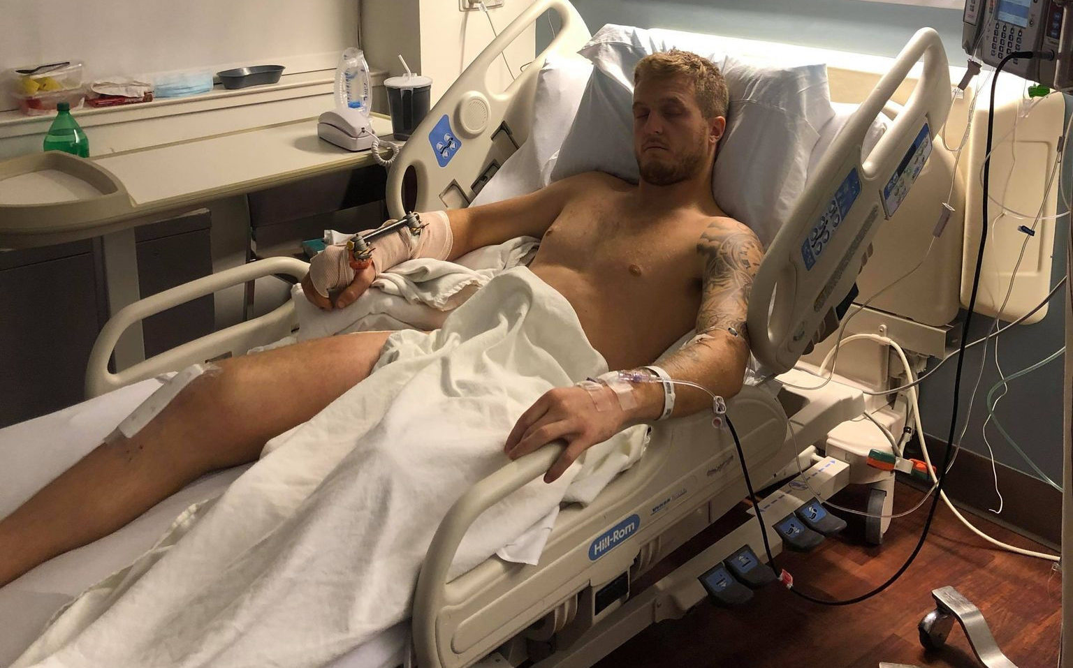 Bradley Ward recovering from surgery at Cooper Medical Center, in Camden, New Jersey. Photo courtesy Bradley Ward.