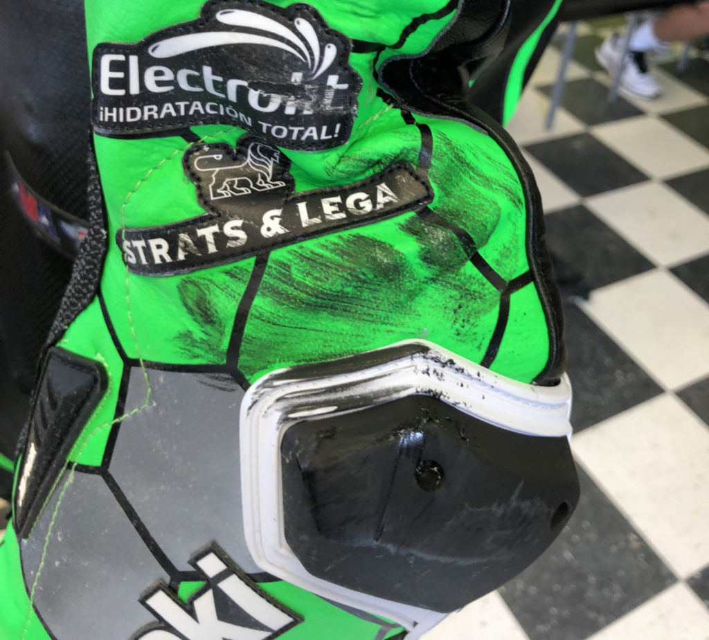 Escalante's leathers showed tire marks at the post-race press conference. The dominant rider in the 2020 Supersport season was elated by the battle despite finishing third. Photo by David Swarts.
