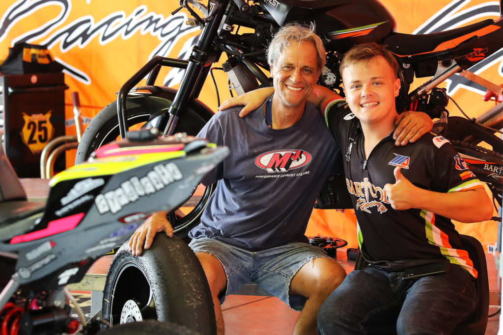 Past AMA Pro 250cc Grand Prix Champion and AMA Pro Superbike star Sam McDonald is now son Cooper's crew chief. Photo by Brian J. Nelson.