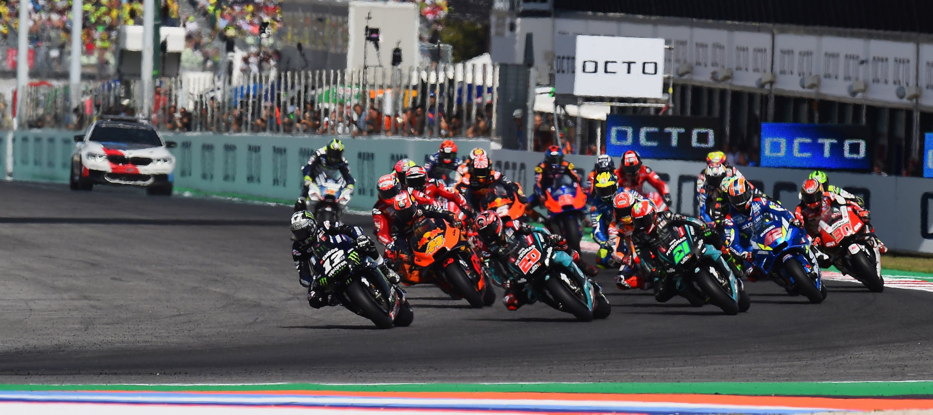 The start of the MotoGP race at Misano in 2019. Photo courtesy Michelin.