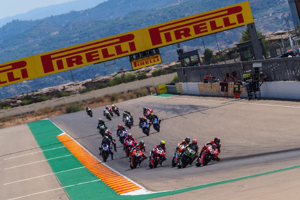 The start of World Superbike Race Two at Motorland Aragon II. Photo courtesy Dorna.