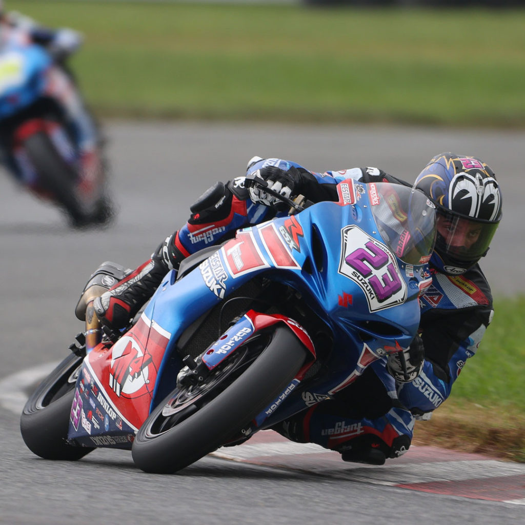 Lucas Silva (23) continued his streak of top-ten finishes on his GSX-R600 in New Jersey. Photo by Brian J. Nelson, courtesy Suzuki Motor of America, Inc.