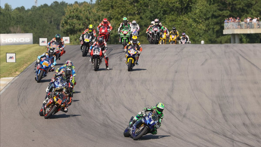 The start of HONOS Superbike Race Two. Photo by Brian J. Nelson, courtesy MotoAmerica.