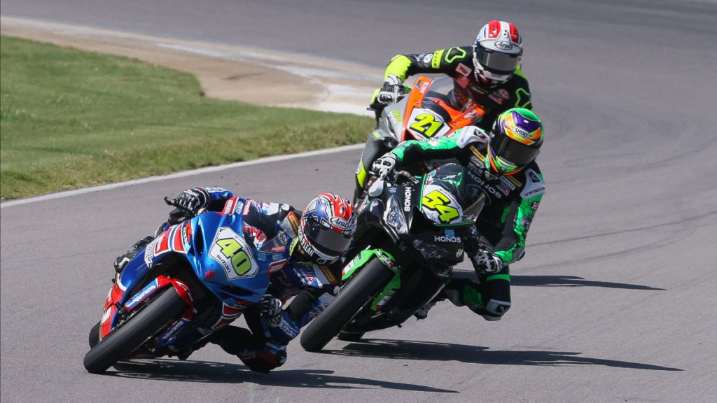 Sean Dylan Kelly (40), Richie Escalante (54), and Brandon Paasch (21) during Supersport Race Two. Photo by Brian J. Nelson, courtesy MotoAmerica.