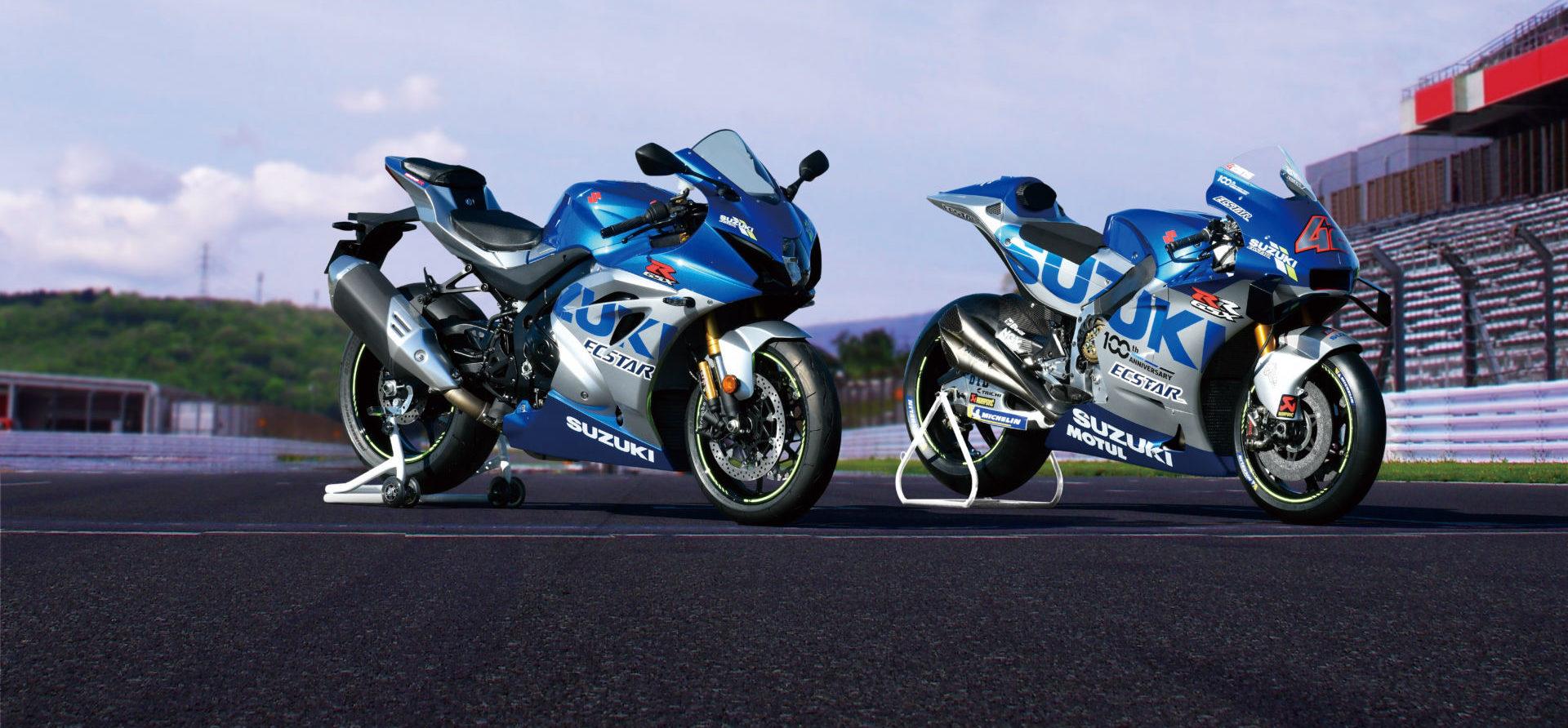 A limited-edition 100th Anniversary Suzuki GSX-R1000R (left) with Alex Rins' Suzuki GSX-RR MotoGP racebike. Photo courtesy Suzuki.