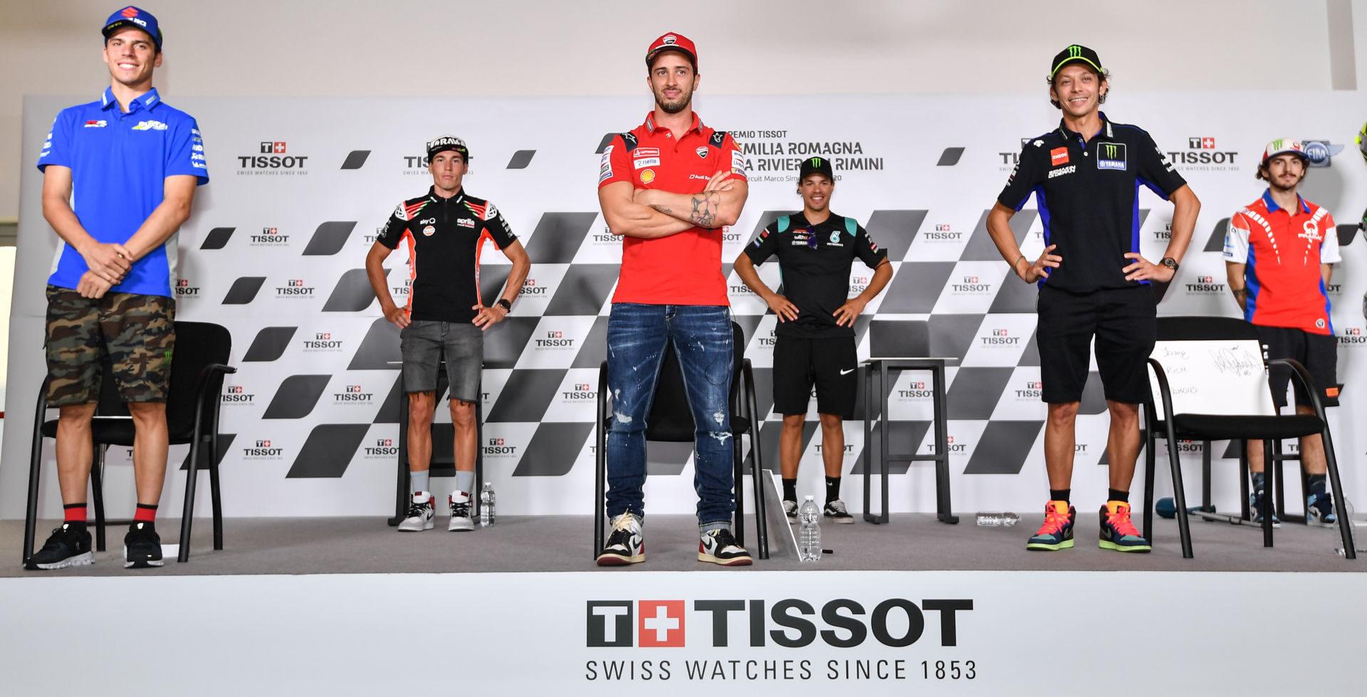 MotoGP riders (from left) Joan Mir, Aleix Espargaro, Andrea Dovizioso, Franco Morbidelli, Valentino Rossi, and Francesco Bagnaia at the pre-event press conference at Misano II. Photo courtesy Dorna.