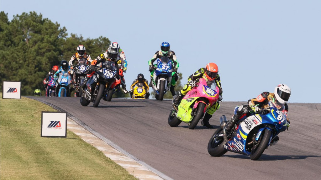 Rocco Landers (97) leads the Twins Cup field into Turn Five at the start of Race Two. Photo by Brian J. Nelson, courtesy MotoAmerica.