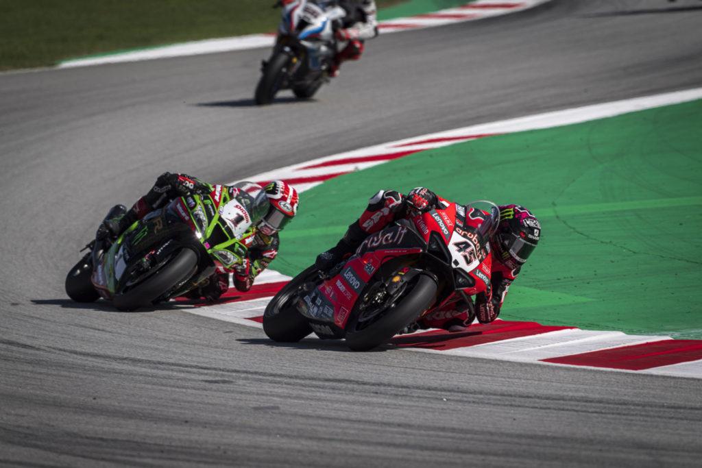 Scott Redding (45) and Jonathan Rea (1). Photo courtesy Ducati.