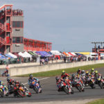 The start of MotoAmerica HONOS Superbike Race One at New Jersey Motorsports Park. Photo by Brian J. Nelson.